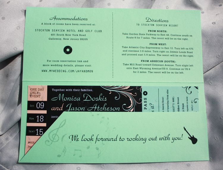 Mint Green, Peach \ Black Swirls \ Music Notes Rock Concert Ticket - concert ticket invitations