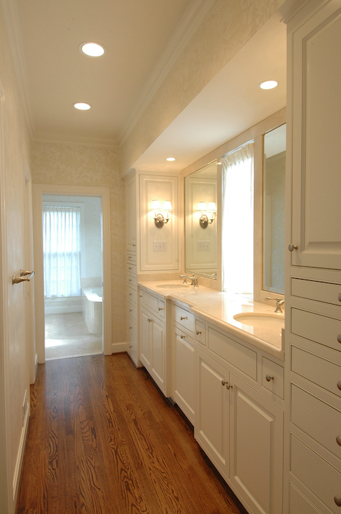 Galley Style Master Bathroom Ivory Cream Damask Wallpaper Oak Wood Floors White Built In