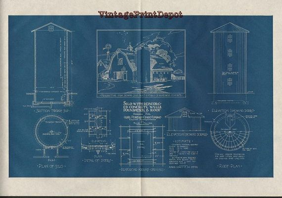 Silo with reinforced concrete walls foundation roof blueprint silo with reinforced concrete walls foundation roof blueprint blueprints wall decor blueprint digital art digital art digital print malvernweather