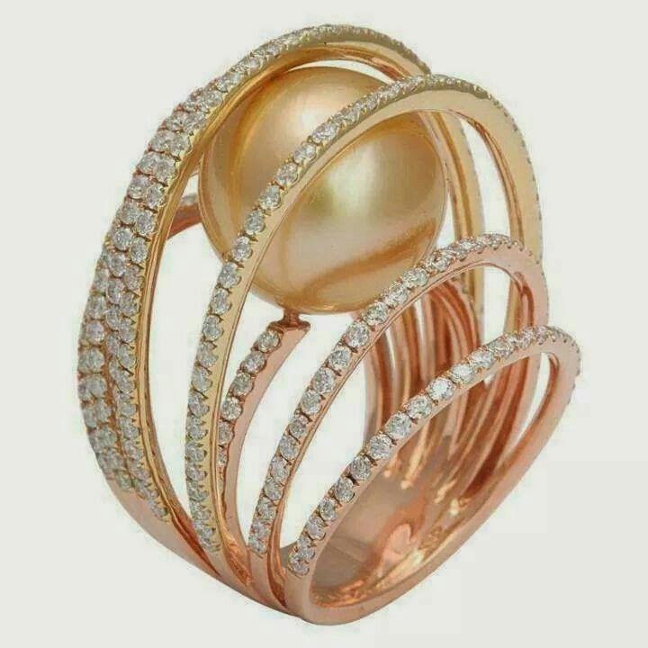 Perola em ouro 18 kt rosa e diamantes