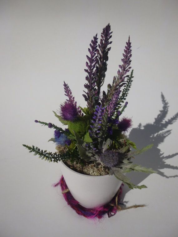 Scotland In A Pot Artificial Thistles And Heather Table Decoration