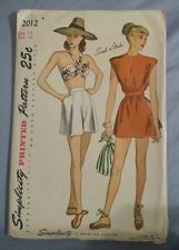 Simplicity sewing pattern ~ women's misses' BRA, SHORTS & PONCHO vintage 1940's