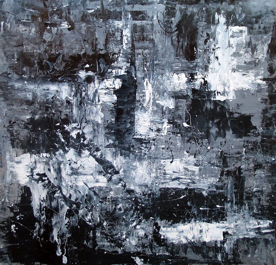 Black and white abstract art | Monochromatic abstract painting ...