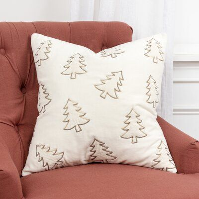 Alcona Christmas Trees Square Cotton Pillow Cover & Insert