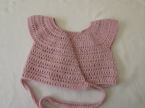 VERY EASY crochet baby / little girl's ballet cardigan tutorial #crochetbabycardigan