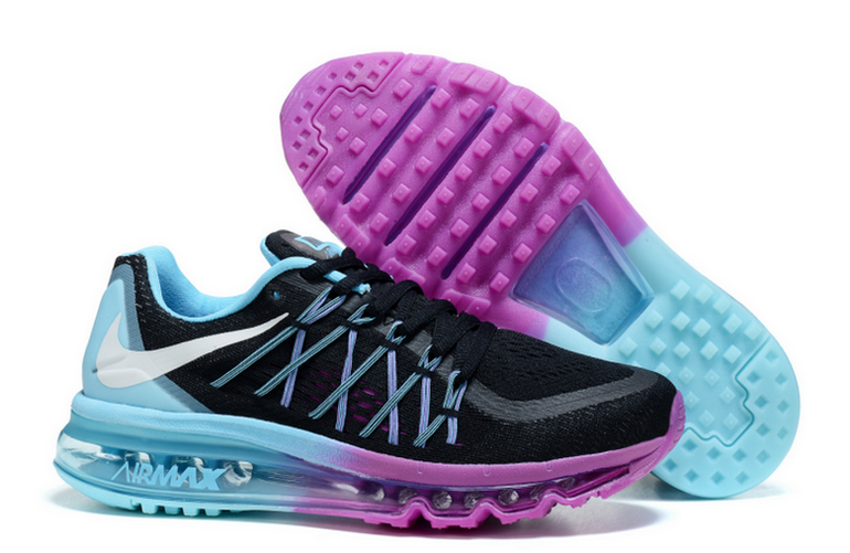 Cheap Womens Nike Air Max 2015 Black Blue Purple Basketball Shoes Sale