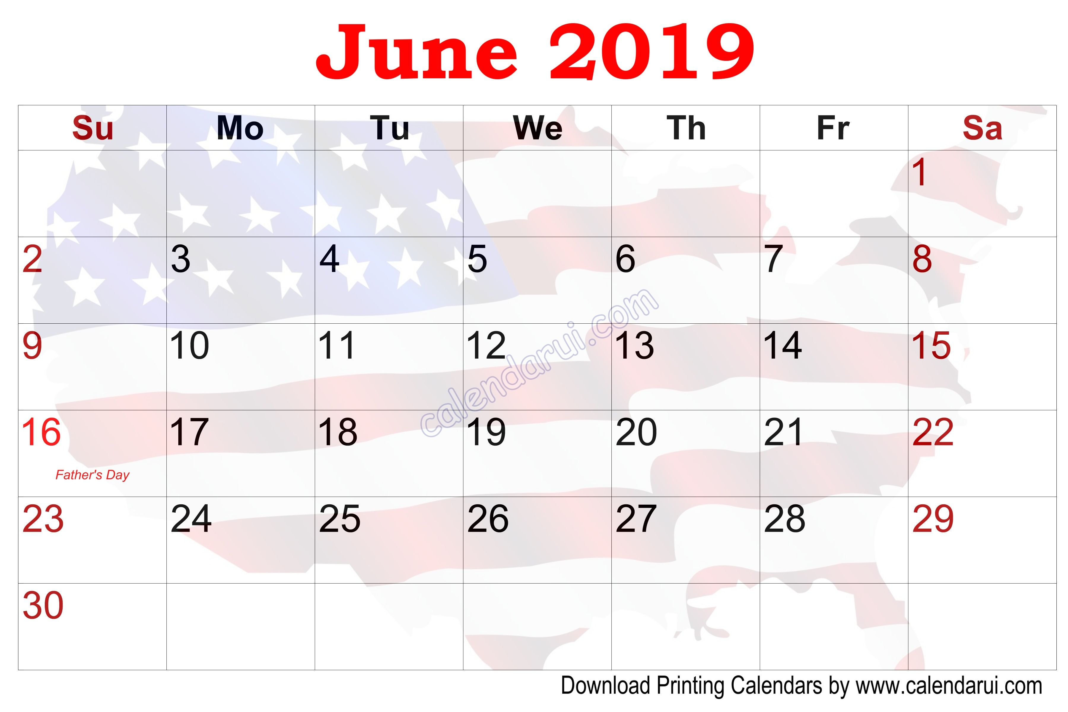 6 June U S Calendar Printable With Holidays In
