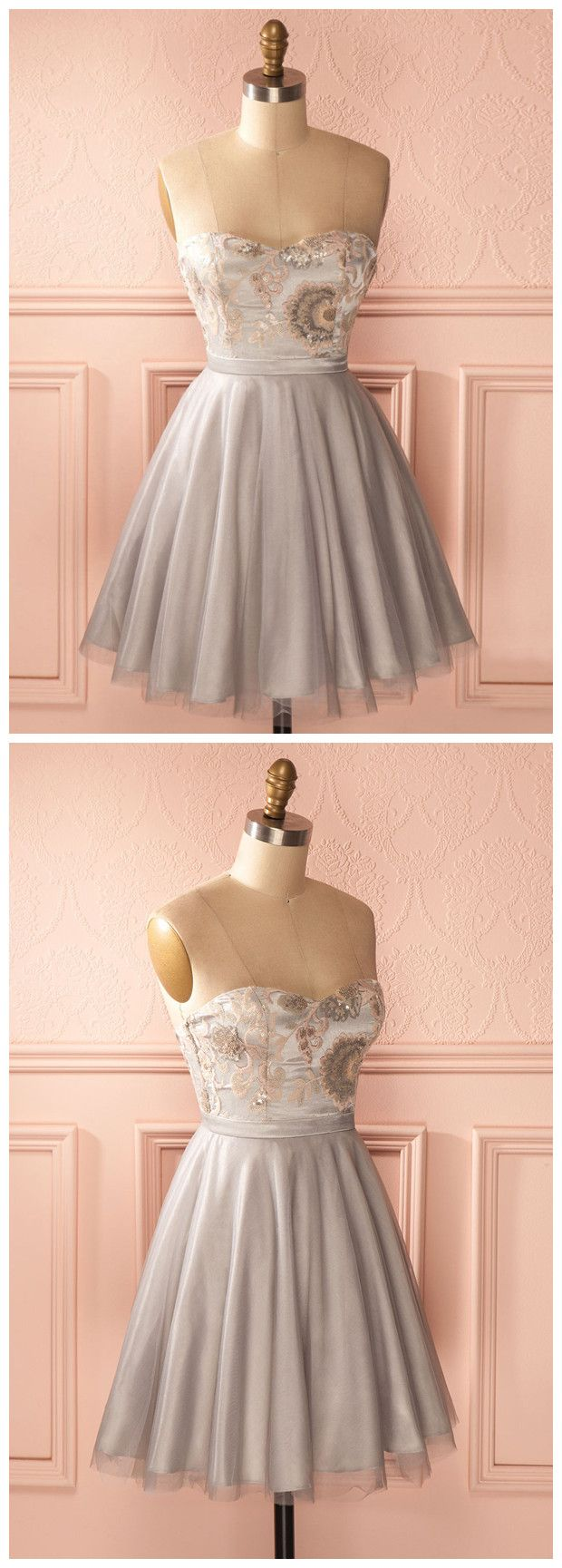 Aline sweetheart short prom dress cheap silver homecoming dress