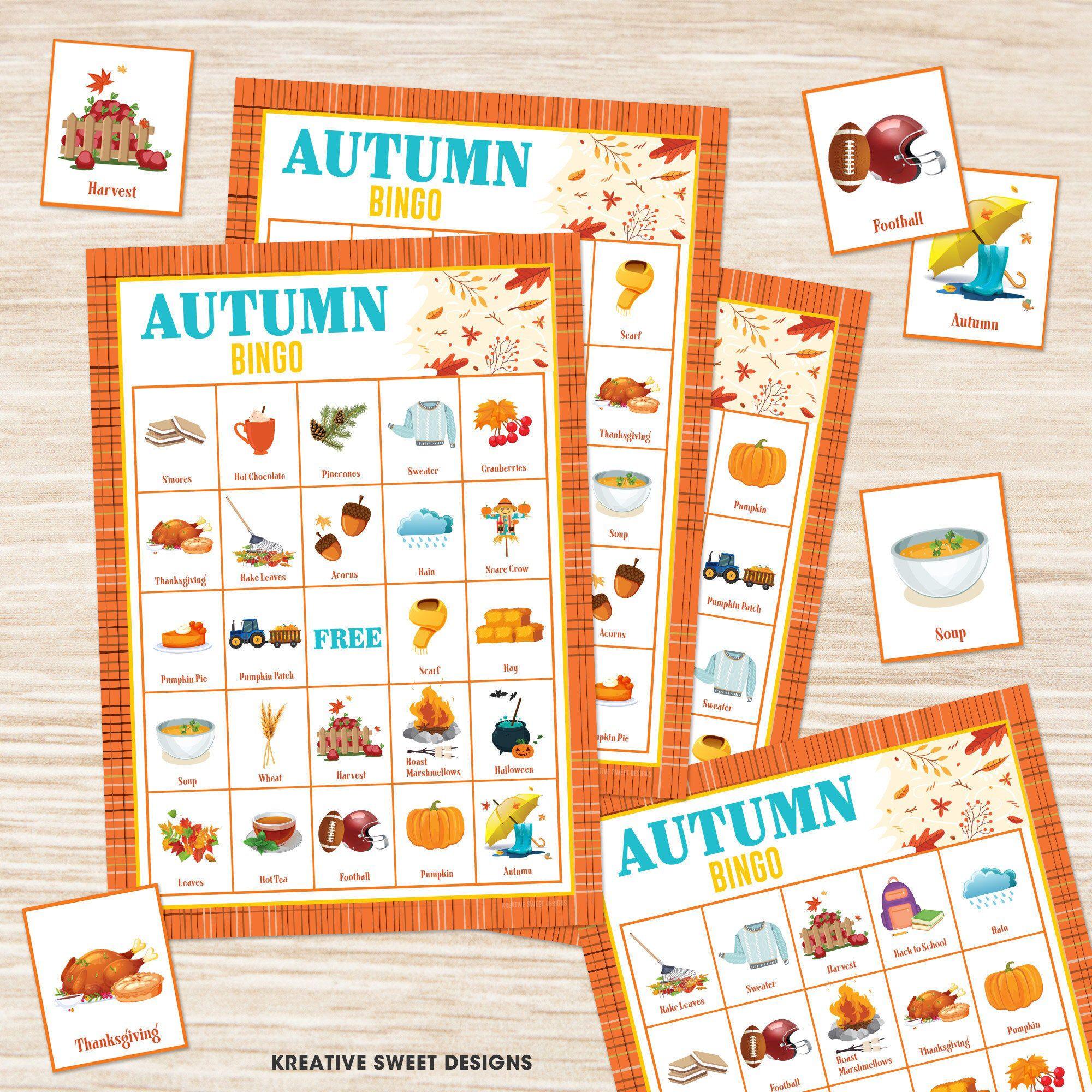 Printable Autumn Bingo Game Digital Instant Download