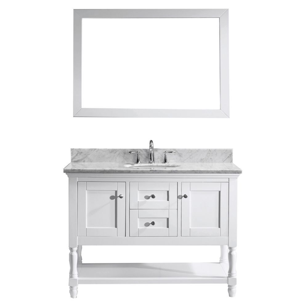 Julianna 48 Inch Single Vanity In White With Marble Top Round