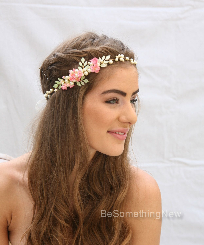 mauve boho wedding headband with dusty rose velvet leaves and dusty rose lace Bohemian floral headpiece Handmade wedding hairpiece.