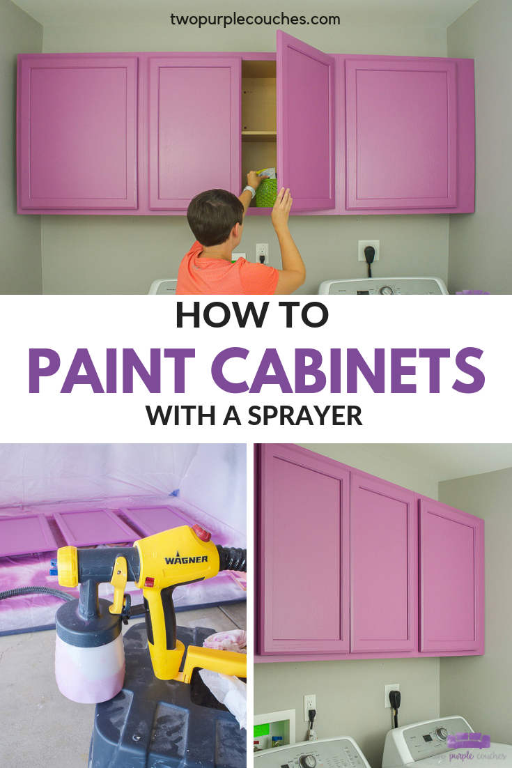How to Paint Cabinets with a Sprayer - Painting cabinets, Paint sprayer, Laundry room, Cabinet, Laundry room design, Purple couch - Paint cabinets like a pro with a sprayer  Save time and get a beautiful finish with a paint sprayer  Easy to do for a laundry room, kitchen or bathroom!