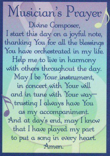 Musician S Prayer Music Lessons Choir Songs Music Ministry