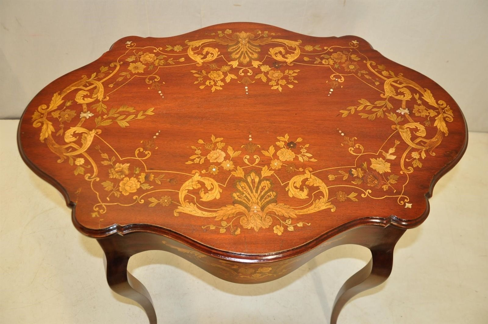 Antique inlaid marquetry french victorian