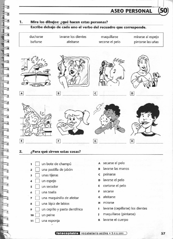 Vocabulario Activo 1 Fichas Con Ejercicios Fotocopiables Elemental Pre Intermedio Exercices D Espagnol Espagnol Cours Espagnol [ 1500 x 1090 Pixel ]