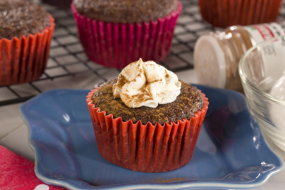 Warm and sweet spices make our Ginger Spice Cupcakes a holiday favorite. But why wait 'til then? With whole wheat flour, unsweetened applesauce and egg whites, you can enjoy this guilt-free treat all year long.