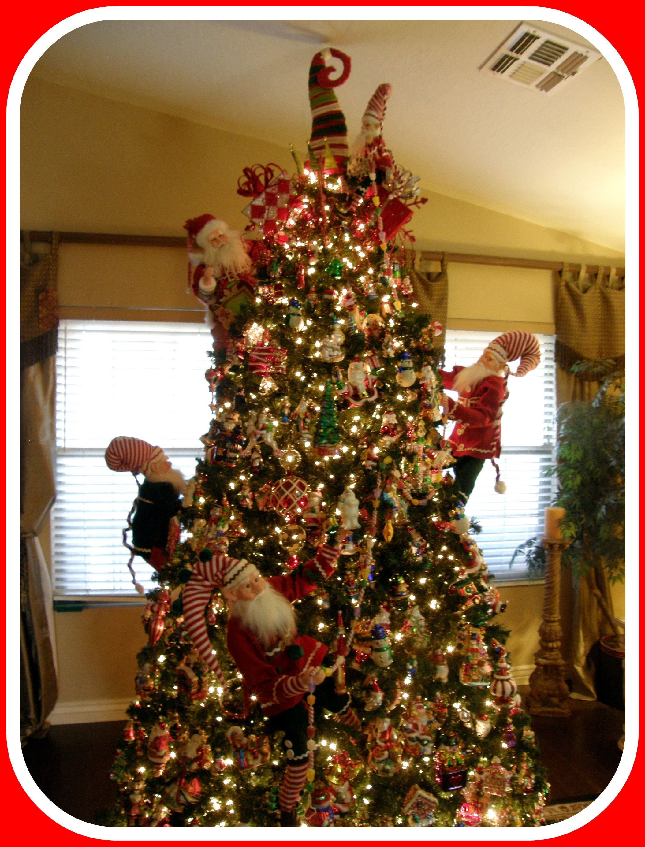 Christopher radko christmas tree with elves decorating