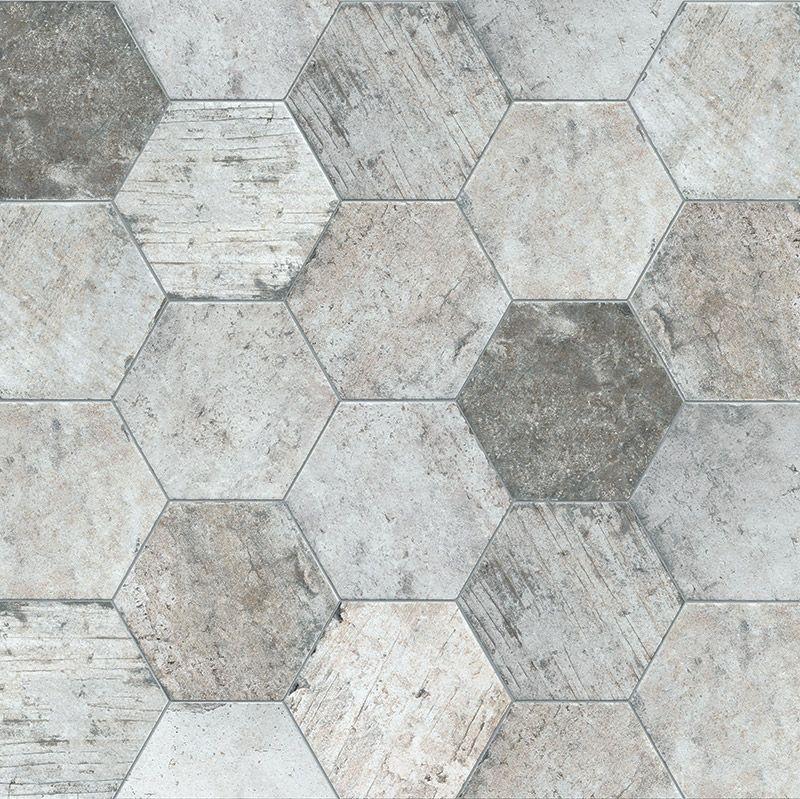 Wisconsin Grey Mix Hexagon Shape Porcelain Floor Tiles Rustic Traditional