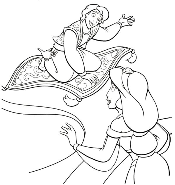 Aladdin Offers A Ride Disney Coloring Page Online Coloring Pages Coloring Pages Princess Coloring Pages