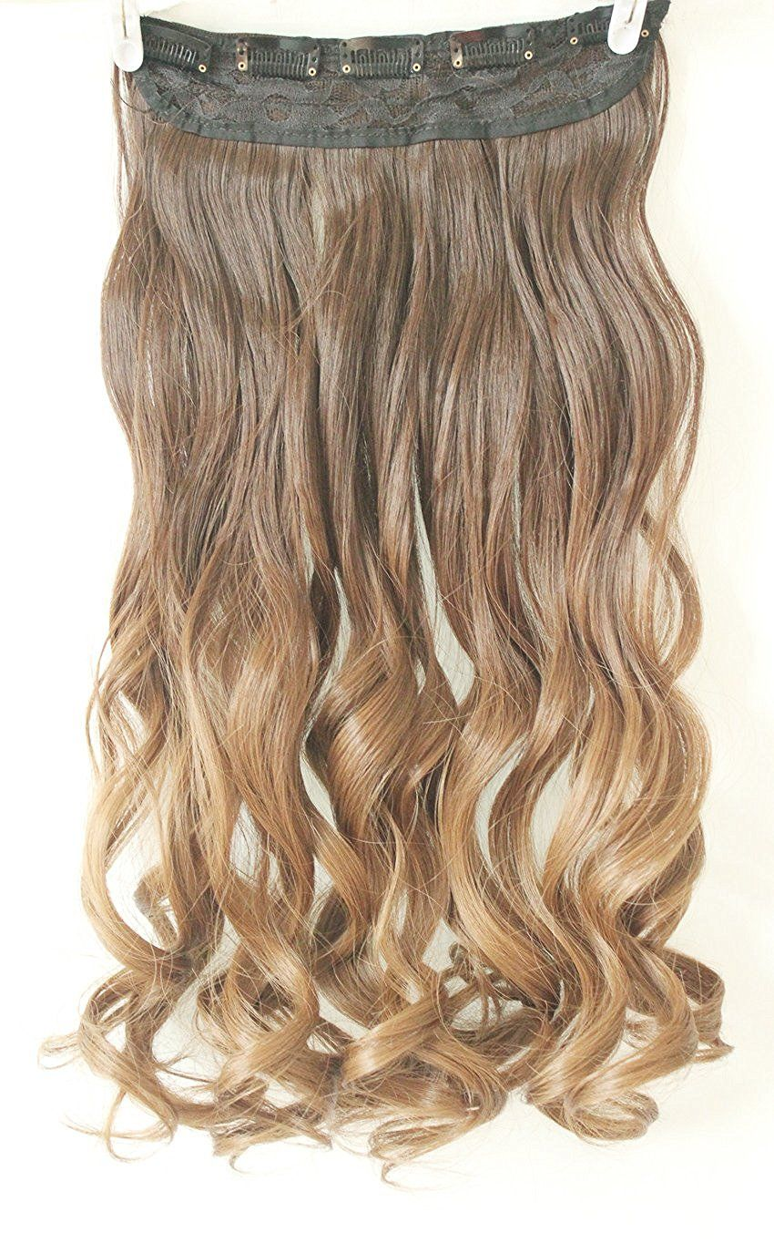 34 Full Head Clip In Hair Extensions Ombre One Piece 2 Tones Wavy