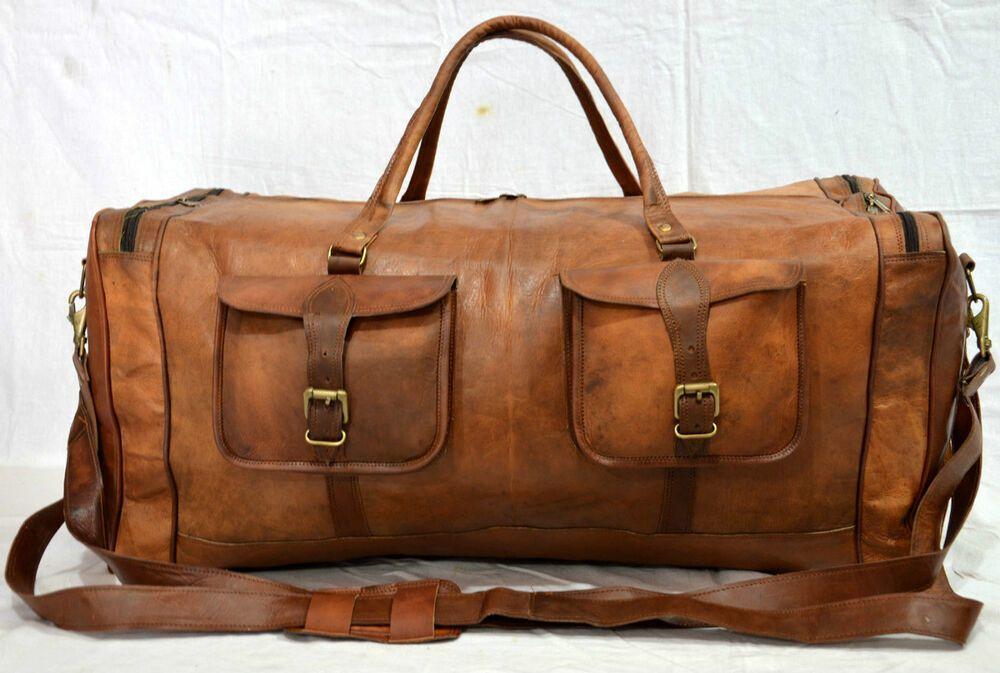 "Men/'s 30/"" genuine Leather large vintage duffel travel gym weekend overnight bag"