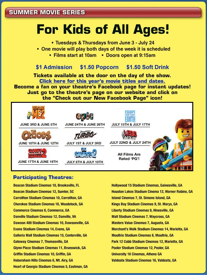 georgia theatre company promotions and events summer movie film releases theatre company pinterest