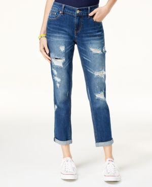 2542374c Unionbay Juniors' Margot Ripped Cropped Boyfriend Jeans - Blue 15 ...