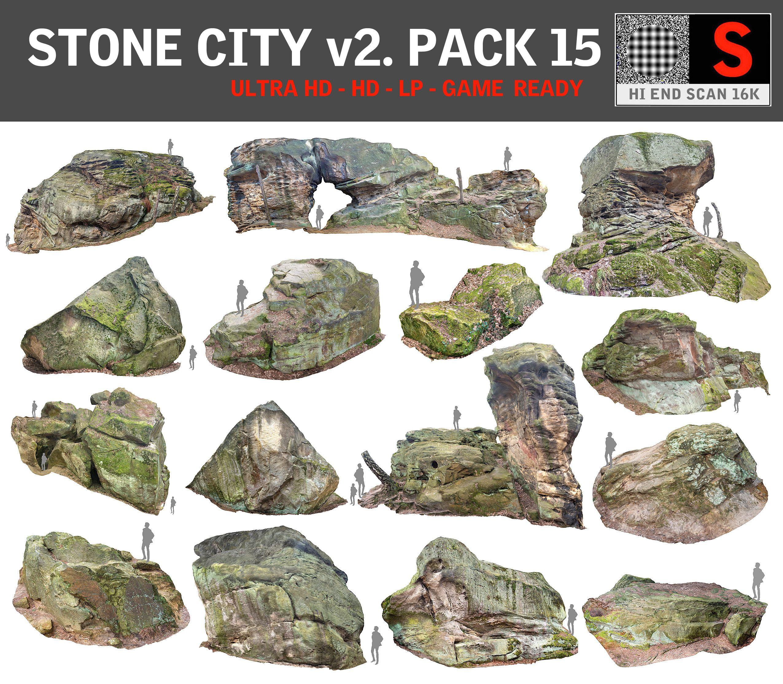 3d model stone forest 15 pack Дикие, Растения, Камень