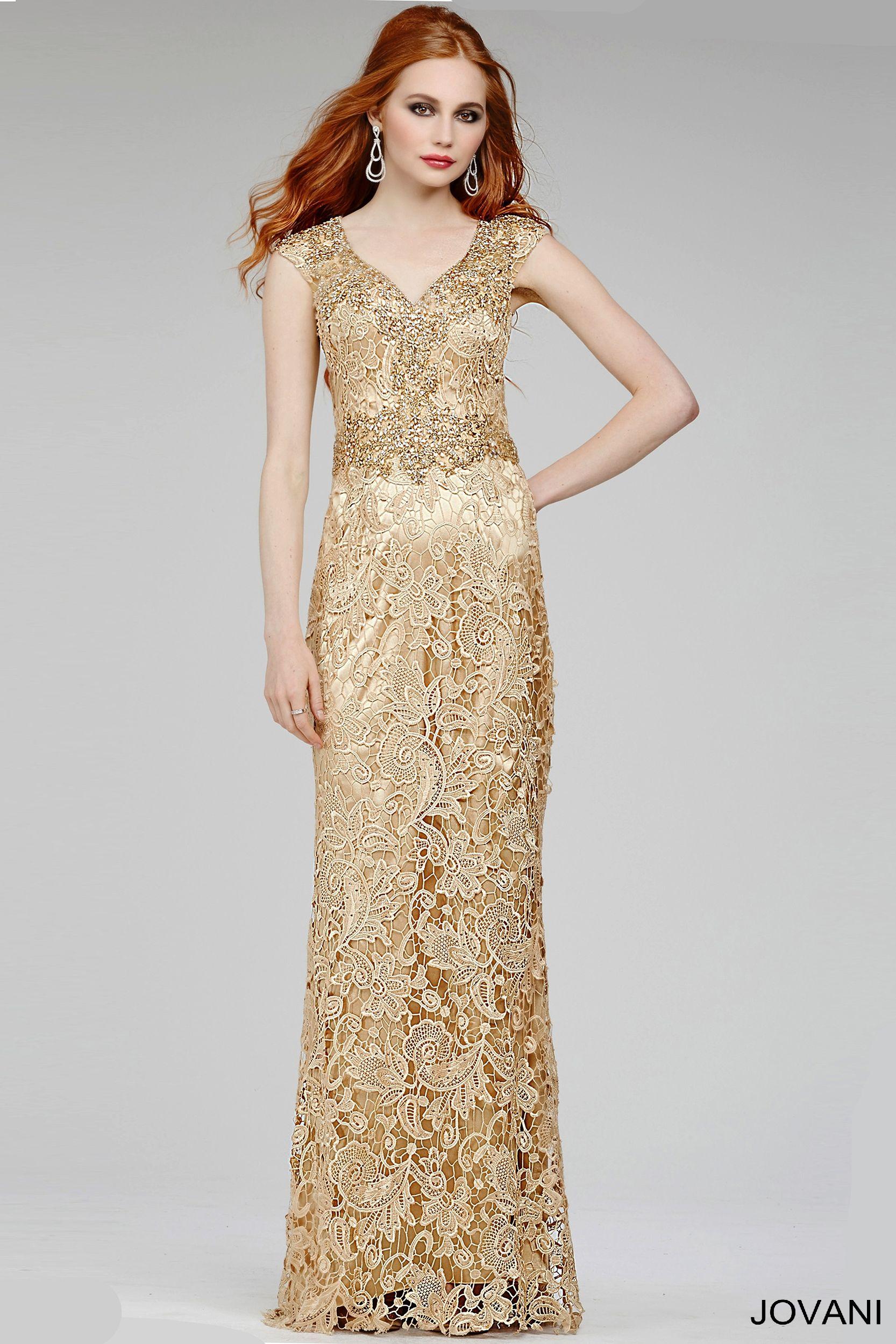 Gold Cap Sleeve Dress 92609 - Evening Dresses | Prom | Pinterest ...
