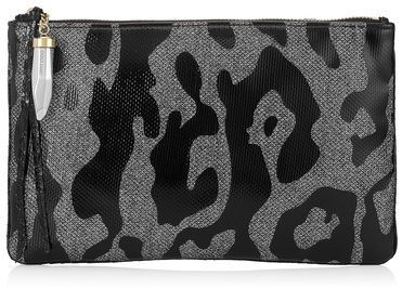 PADMA Anthracite and Black Camoleo Print Patent on Lamé Glitter Pouch