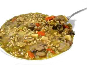 Fiber Rich, Deli-Style Mushroom Barley Soup.. It's delicious and loaded with fresh mushrooms, fiber rich barley and vegetables. Each serving has 142 calories, 2.5 grams of fat and 4 Weight Watchers POINTS PLUS. http://www.skinnykitchen.com/recipes/fiber-rich-deli-style-mushroom-barley-soup-delicious/