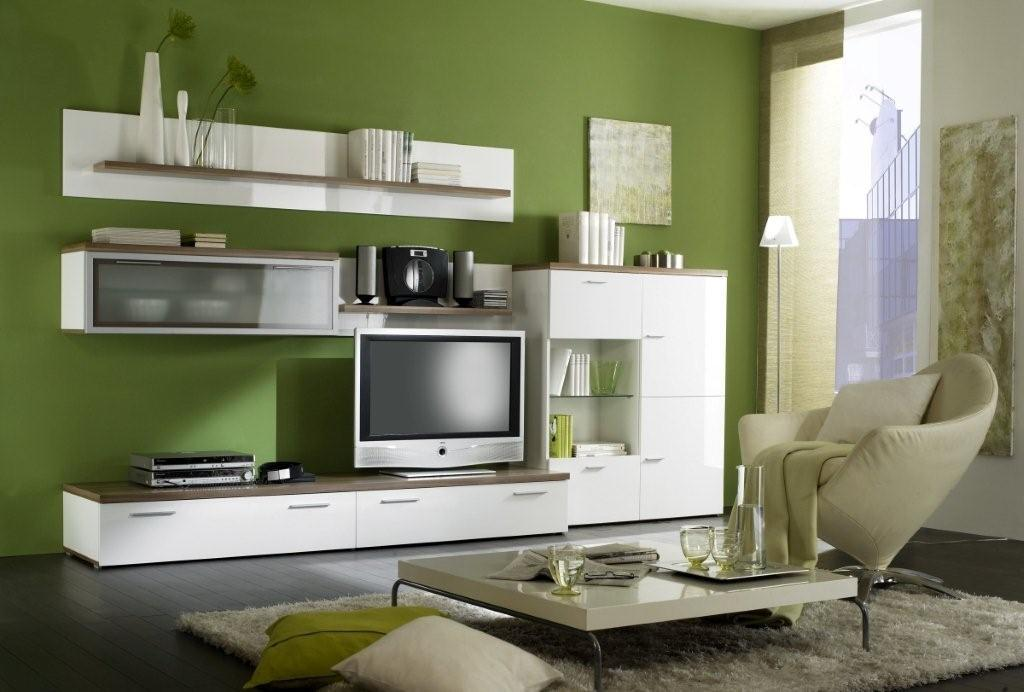 Superieur Open And With Doors Modern Wall Units For Living Room: Engaging Amazing Living  Room Wall Unit Home Directory White Color On Fresh Green Color Wall  Painting ...