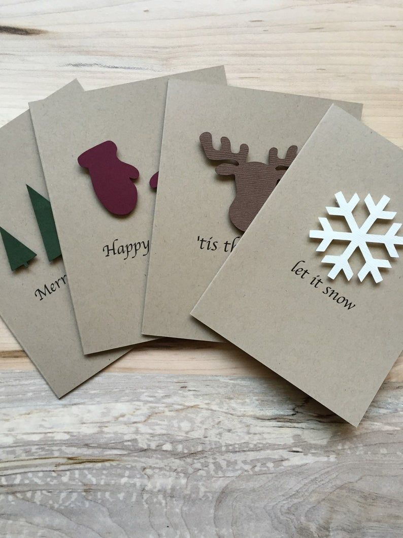 Rustic Holiday Card Set, Set of 8 Christmas Cards, Assorted Holiday Christmas Cards #christmascards