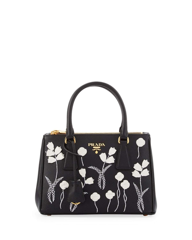 1c99f66d1a78 Prada Saffiano Floral Mini Double-Zip Galleria Tote Bag, Black/White (Nero+ Bianco)