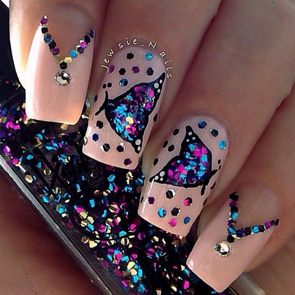 60 Glitter Nail Art Designs | Necklace designs, Rhinestone nails and ...