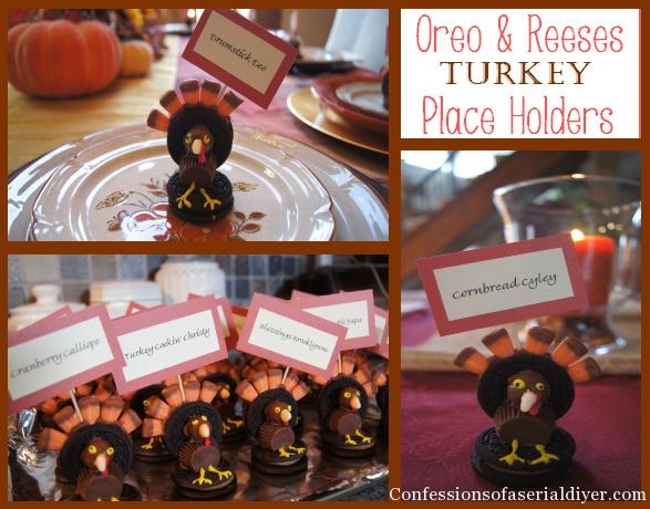 Oreo and reeses turkey s as place cards the names are all