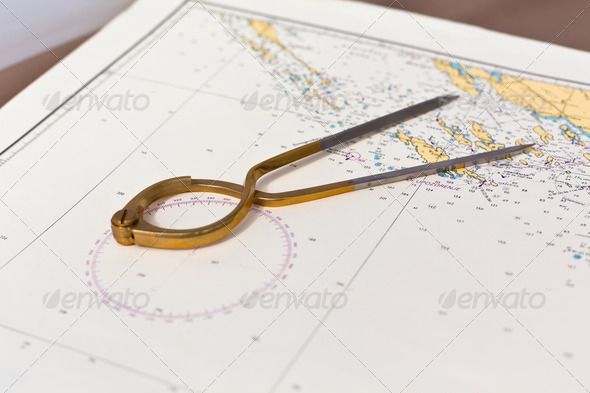 Pair Of Compasses For Navigation On A Sea Map Sea Map Map Navigation