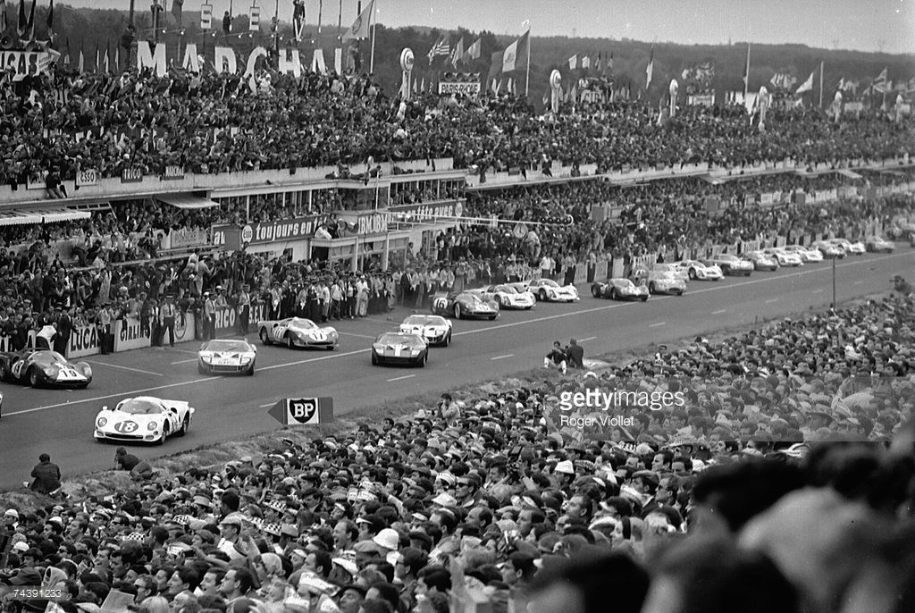 Drivers Leave The Start Of The 24 Hours Race Of Le Mans At Circuit