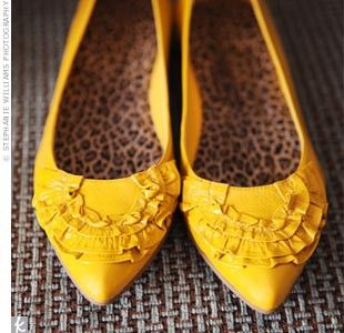 cute mustard shoes - worn with gray and white dress on ...