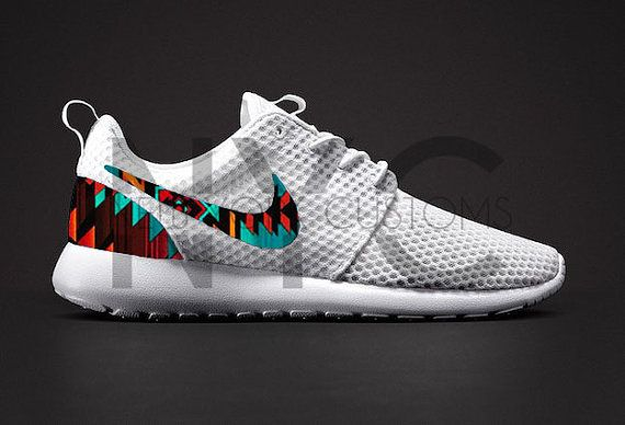 af8a275c7e9a7 Nike Roshe Run BR White Aztec Tribal Print Custom Men by NYCustoms ...
