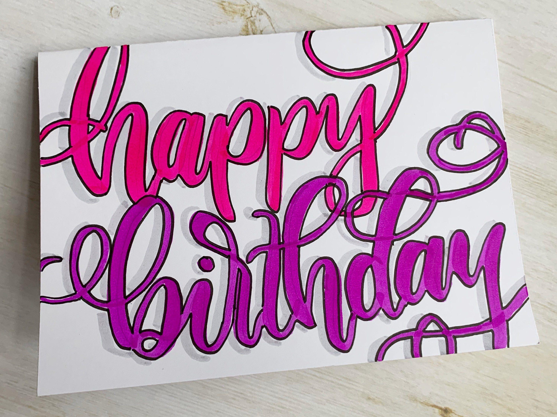 Blank Happy Birthday 5 X 7 Card With White Envelope By Madletteringshop On Etsy White Envelopes Cards Happy Birthday