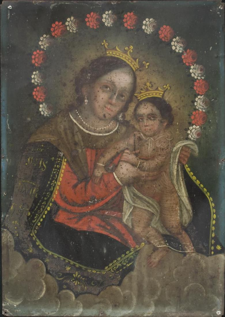 "MEXICO TIN RETABLO, ""OUR LADY, REFUGE OF SINNERS"" : Lot 0835"