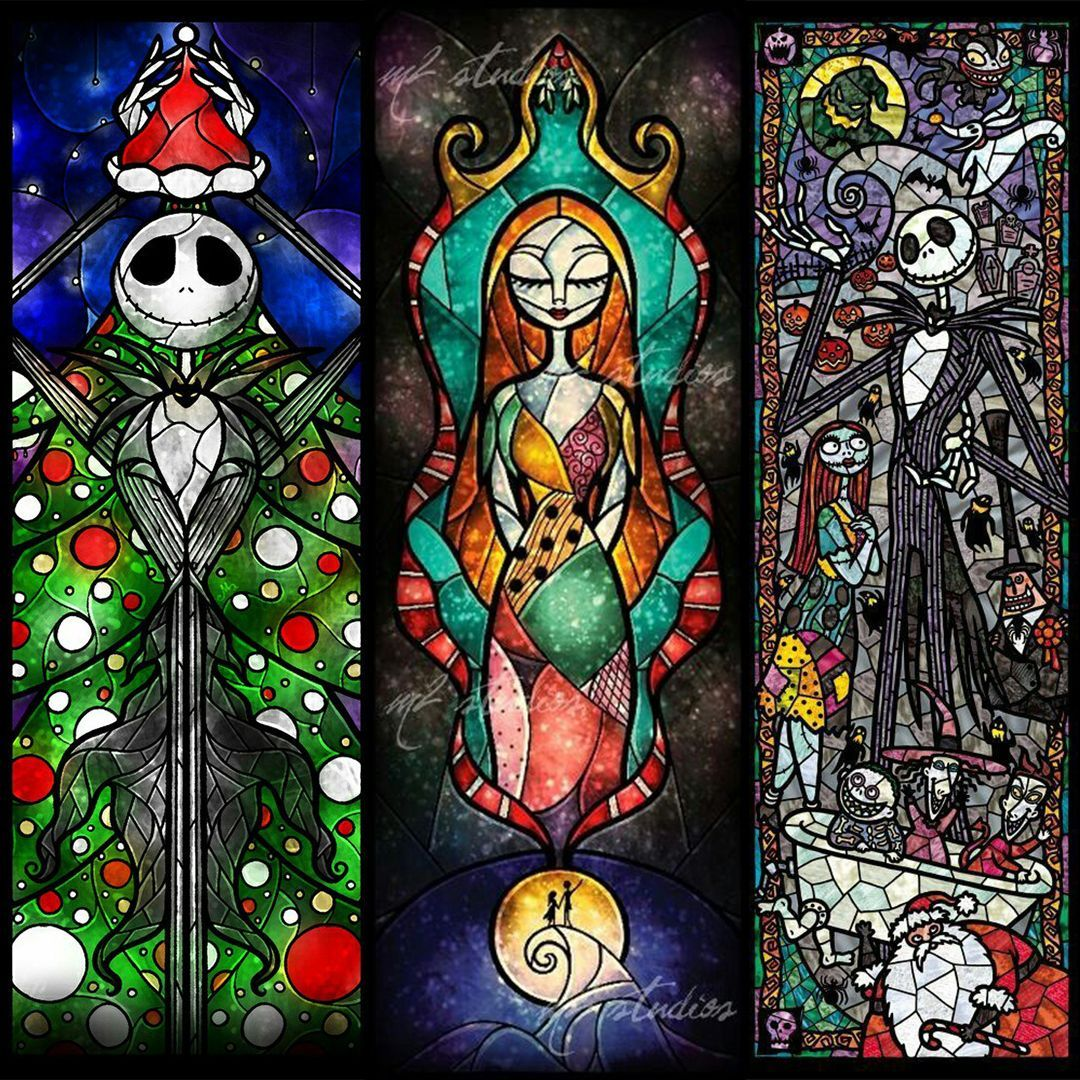 Loving this #stainedglass style Nightmare Before Christmas art ...