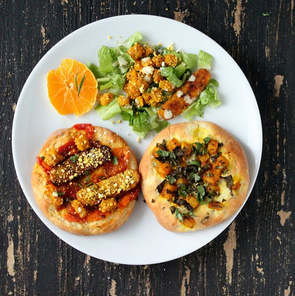 """Blog Veganricha's """"Chopped"""" challenge resulted in great things: Popcorn-crusted Butternut Squash, Kale, Tempeh, Apricot and Tomato Chutney on Rosemary and Popcorn Individual Pizzas."""