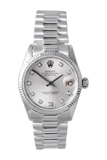 Vintage Rolex Women\u0027s White Gold Midsize President Watch by