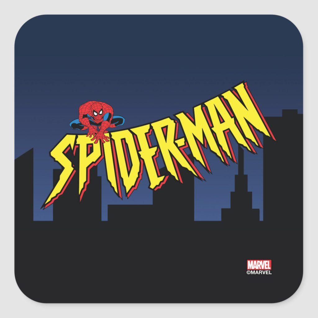 Spider Man 90 S Animated Series Title Screen Square Sticker Zazzle Com