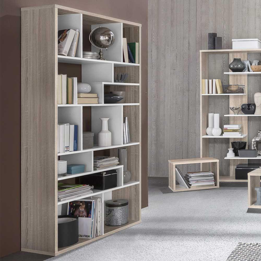 Brilliant Regale Wohnzimmer Beste Wahl Bücherregal In Weiß Eiche Sonoma 14 Fächer