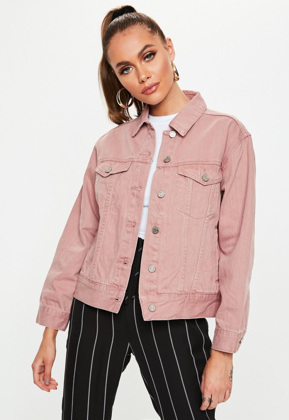 afb84527408 Petite Dark Pink Oversized Denim Jacket in 2019 | TEEZY AESTHETICS ...