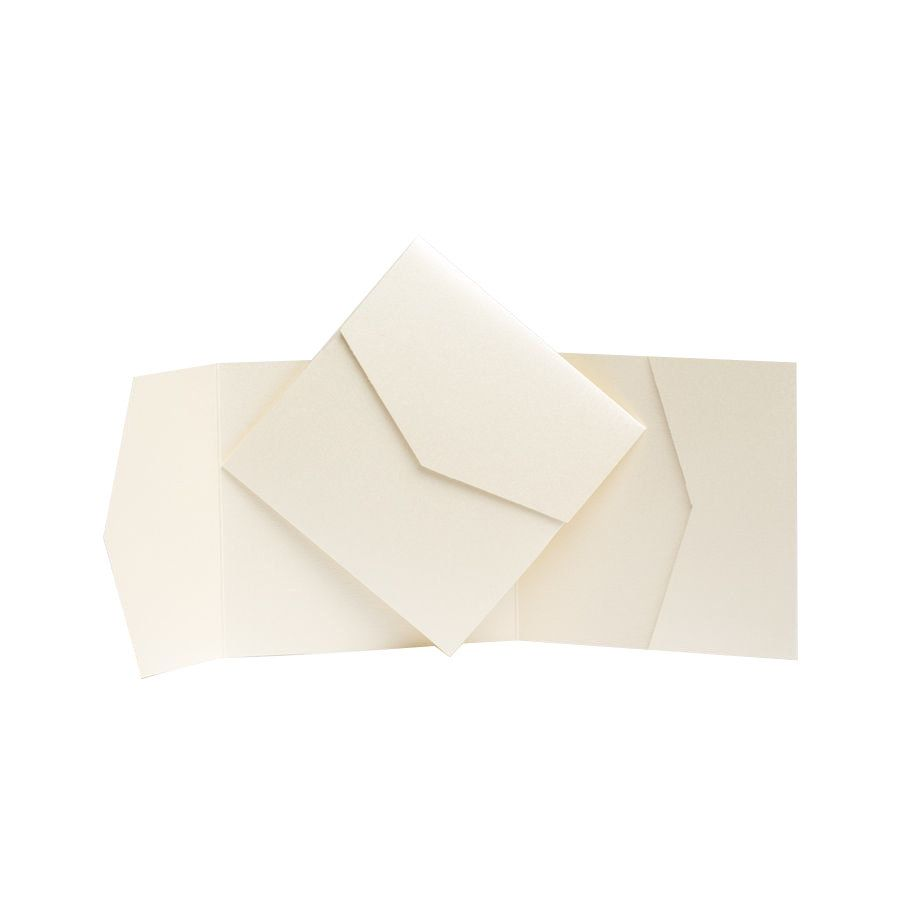 DIY Wedding Wallets White Pearlescent Pocket fold Invitations with Envelopes