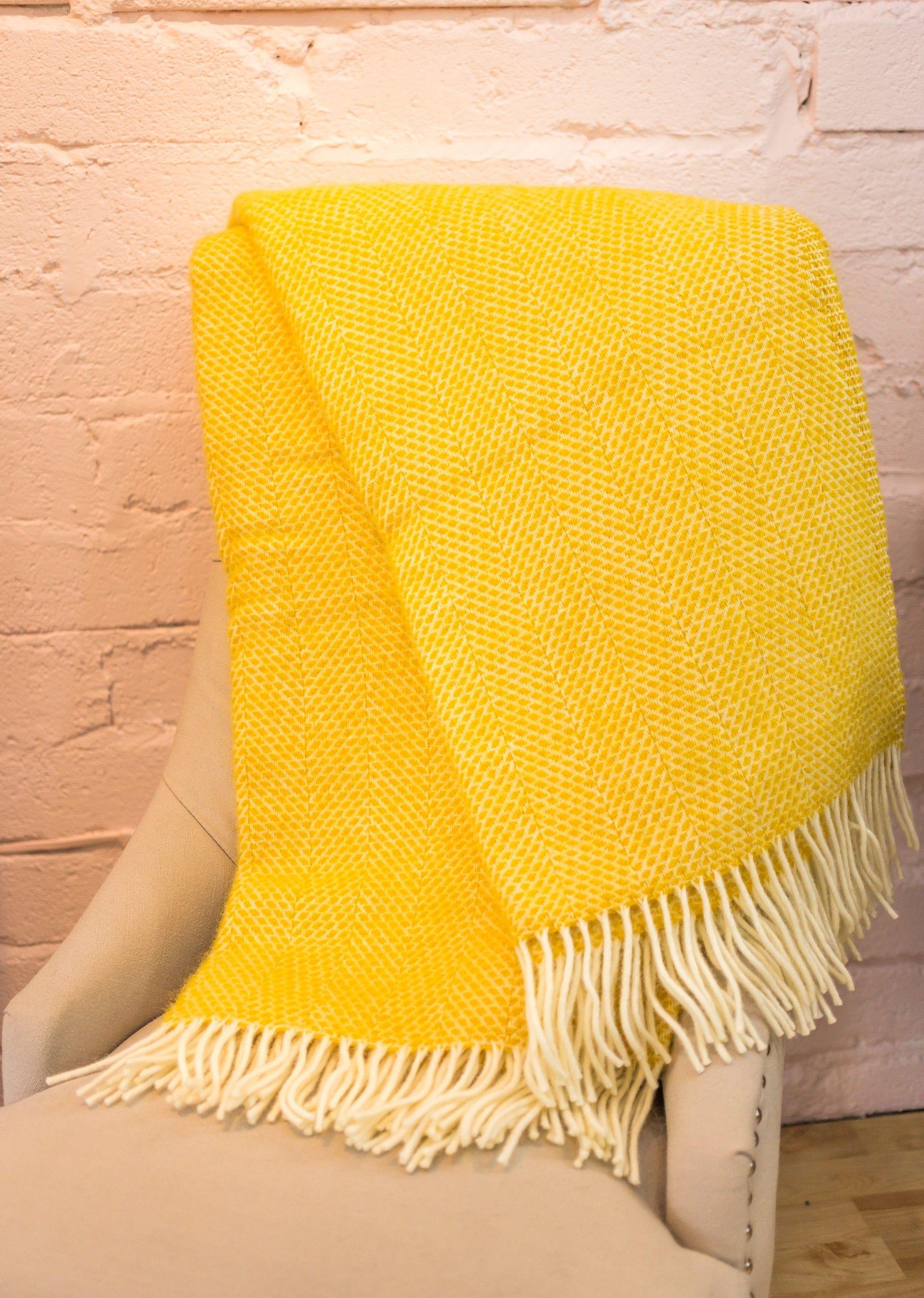Bestselling mustardy yellow beehive wool tweedmill blanket bedroom